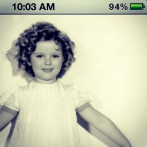 Shirley temple in Curly top on an iphone